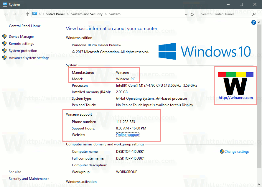 Change or Add OEM Support Information in Windows 10