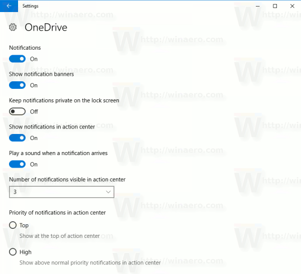 Windows 10 OneDrive Notifications
