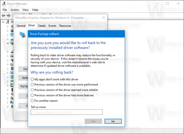 Windows 10 Roll Back Driver