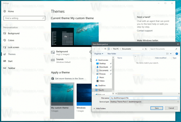 Windows 10 Save Theme As Deskthemepack