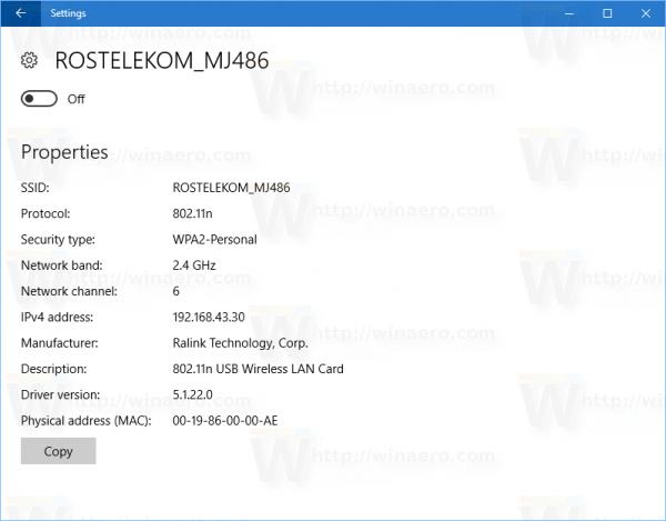 Windows 10 Settings WIFI MAC