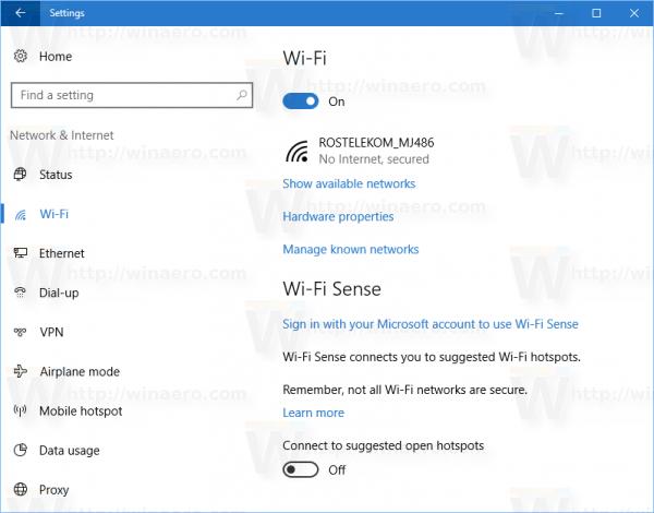 Windows 10 Settings Wifi Blue