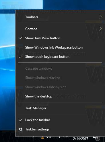 Windows 10 Taskbar Context Menu