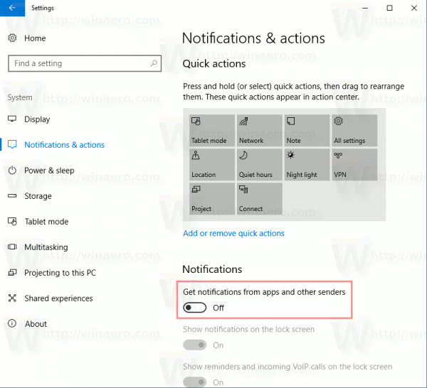 Windows 10 Disable Action Center Notifications