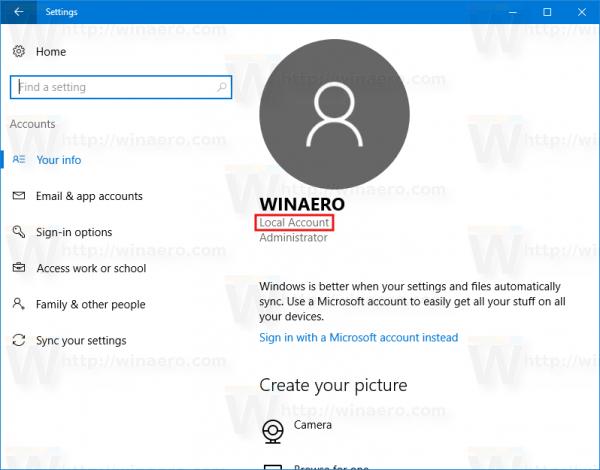 Windows 10 Local Account Example