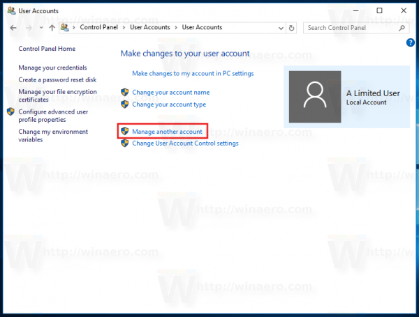 Windows 10 Manage Another Account