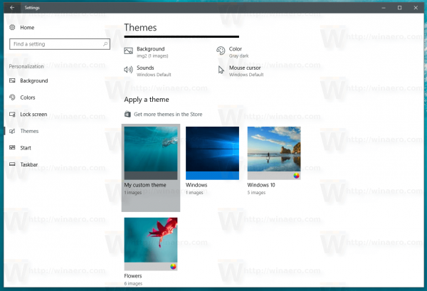 Windows 10 Saved Theme In The List