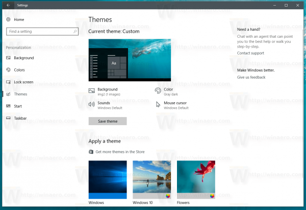 Windows 10 Themes Page