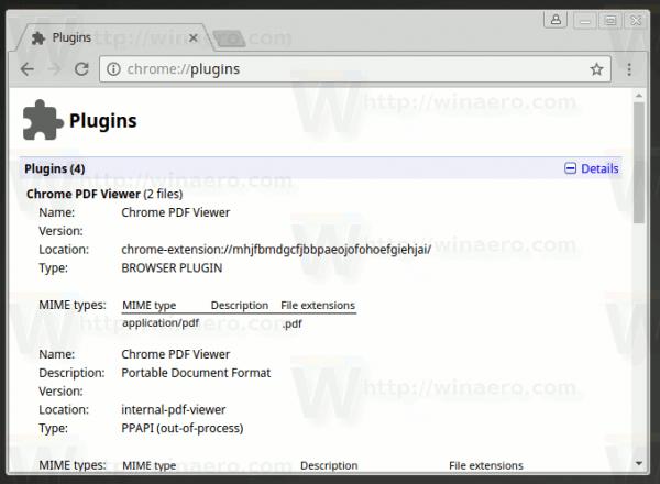 Chrome Plugins Page