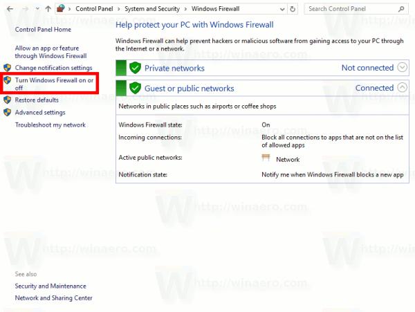 Control Panel Turn Windows Firewall On Or Off