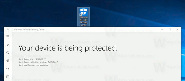 Create Windows Defender Security Center Shortcut In Windows 10