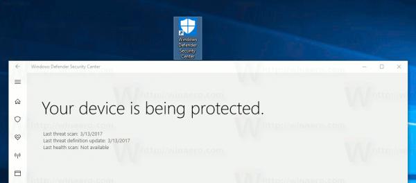 Create Windows Defender Security Center Shortcut In Windows 10