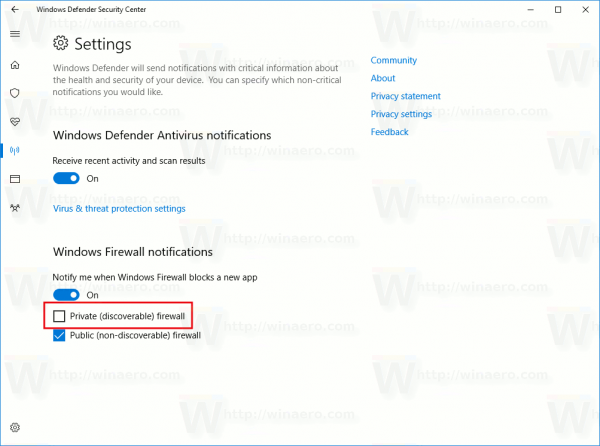 Disable Firewall Notifications In Windows 10 Per Network Type
