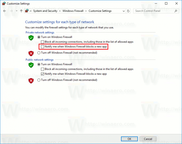 Disable Firewall Notifications In Windows 10 Using Control Panel