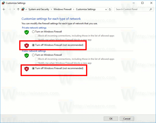 Disable Windows Firewall In Windows 10 With Control Panel