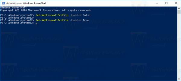 Enable Windows Firewall In Windows 10 In PowerShell