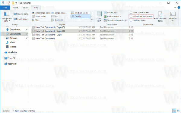 how to turn on file extensions windows 10