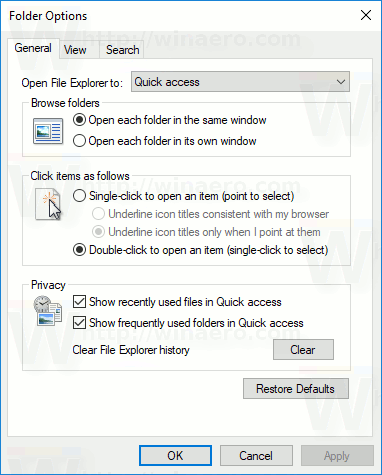File Explorer Folder Options Dialog