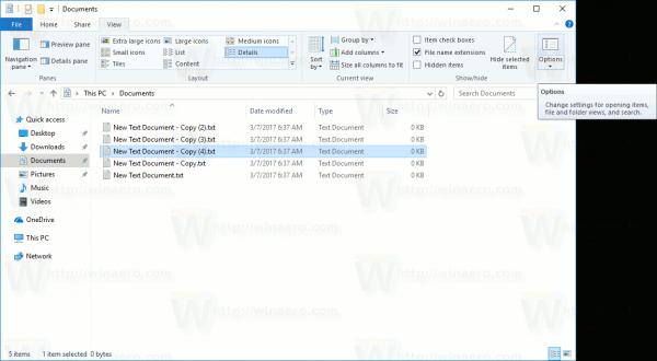 File Explorer Options Button
