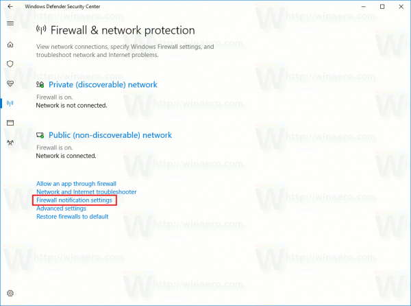 Firewall Notification Settings Link