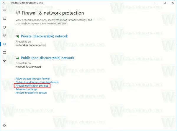 Firewall Notification Settings Link