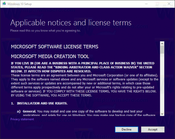 Media Creation Tool License