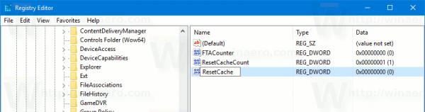 Registry Live Tile Cache ResetCache 32bit Dword