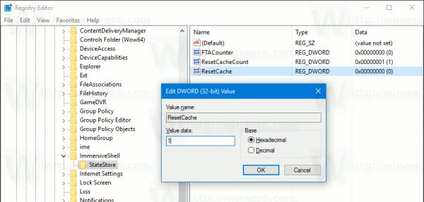 Registry Live Tile Cache ResetCache Set 1