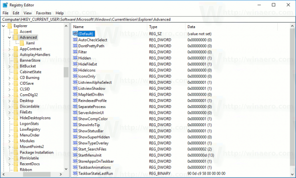 Registry Explorer Advanced Key