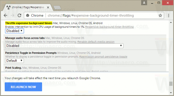 Relaunch To Disable Tab Throttling In Google Chrome