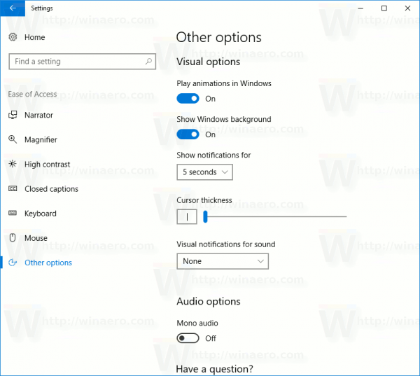 Settings Ease Of Access Other Options