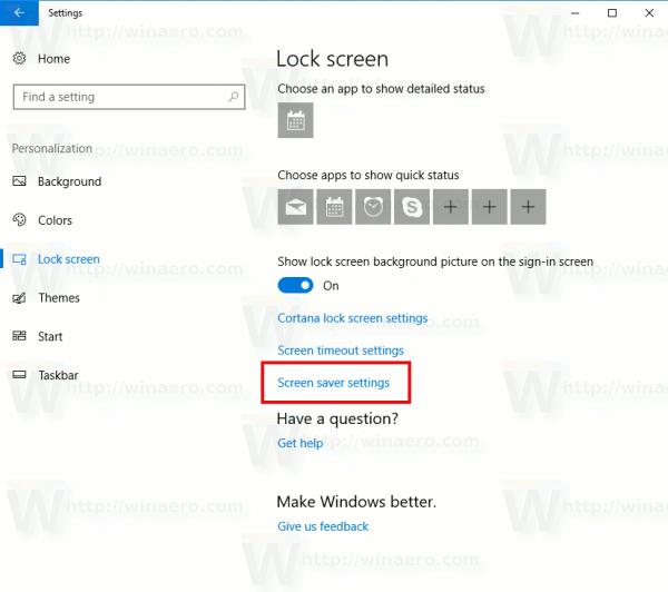 how to change screen saver settings on windows 10