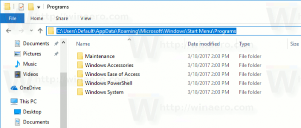 Start Menu Default User