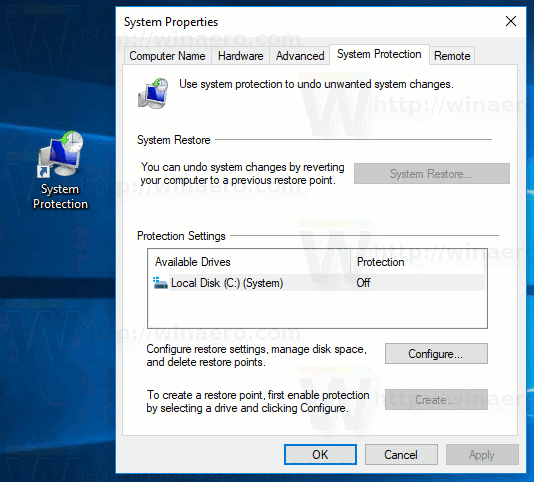 System Protection Shortcut In Windows 10