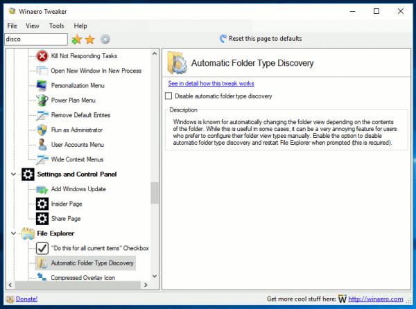 Winaero Tweaker Folder Type Discovery