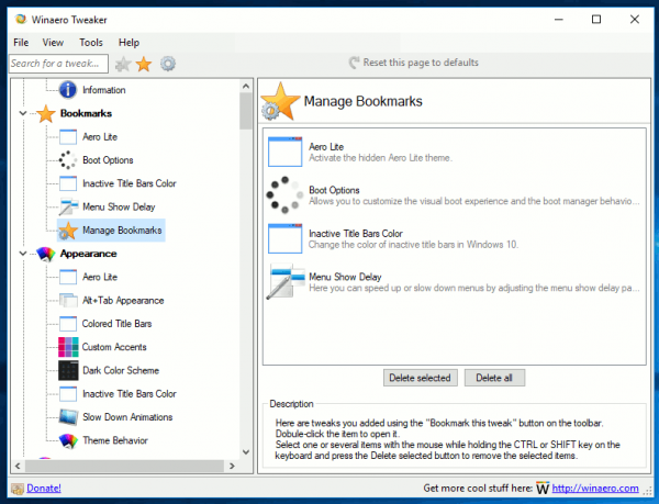 Winaero Tweaker Manage Bookmarks
