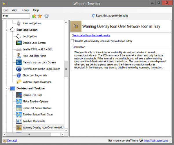 Winaero Tweaker Network Overlay