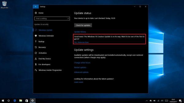Windows 10 Creators Update Teaser In Settings