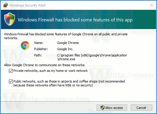 Windows 10 Firewall Notifications