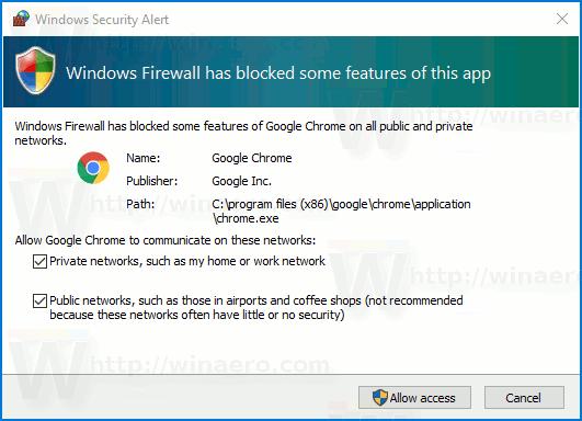 Windows 10 Firewall Notifications
