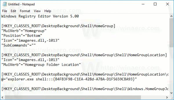 Windows 10 Home Group Context Menu Tweak Contents