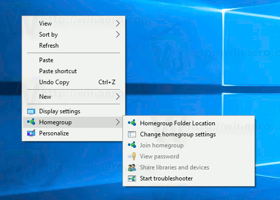 Windows 10 Home Group Context Menu