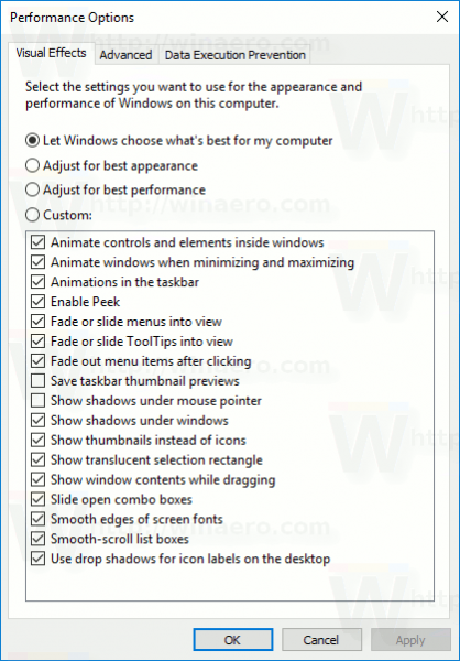 Windows 10 Performance Options Dialog