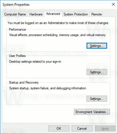 Windows 10 Advanced System Properties