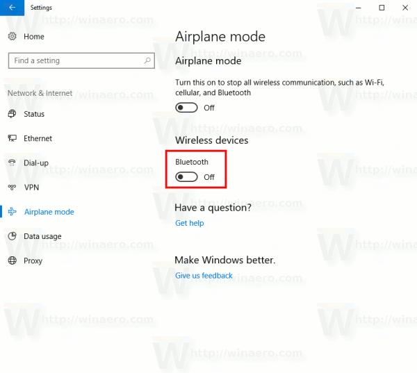 Windows 10 Airplane Mode Bluetooth