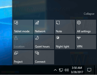 Windows 10 All Quick Action Buttons