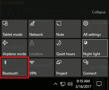 Windows 10 Bluetooth Action Center