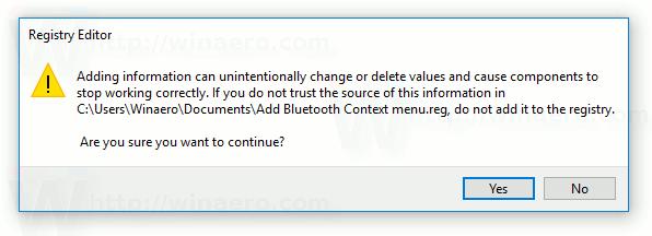 Add Bluetooth Context Menu in Windows 10