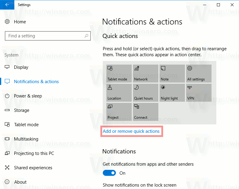 Windows 10 Change Quick Action Buttons