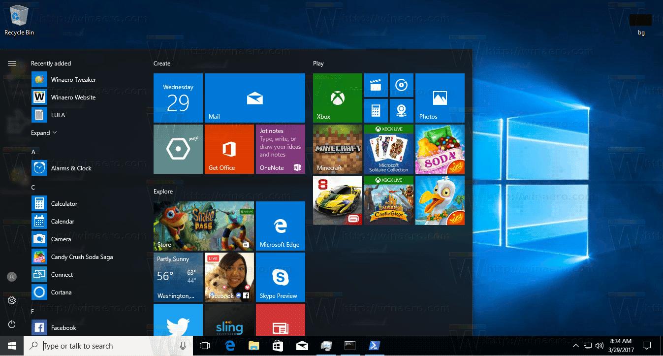 Windows 10 Default Start Menu